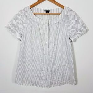 Theory Therone White Gray Striped Pocket Top Small